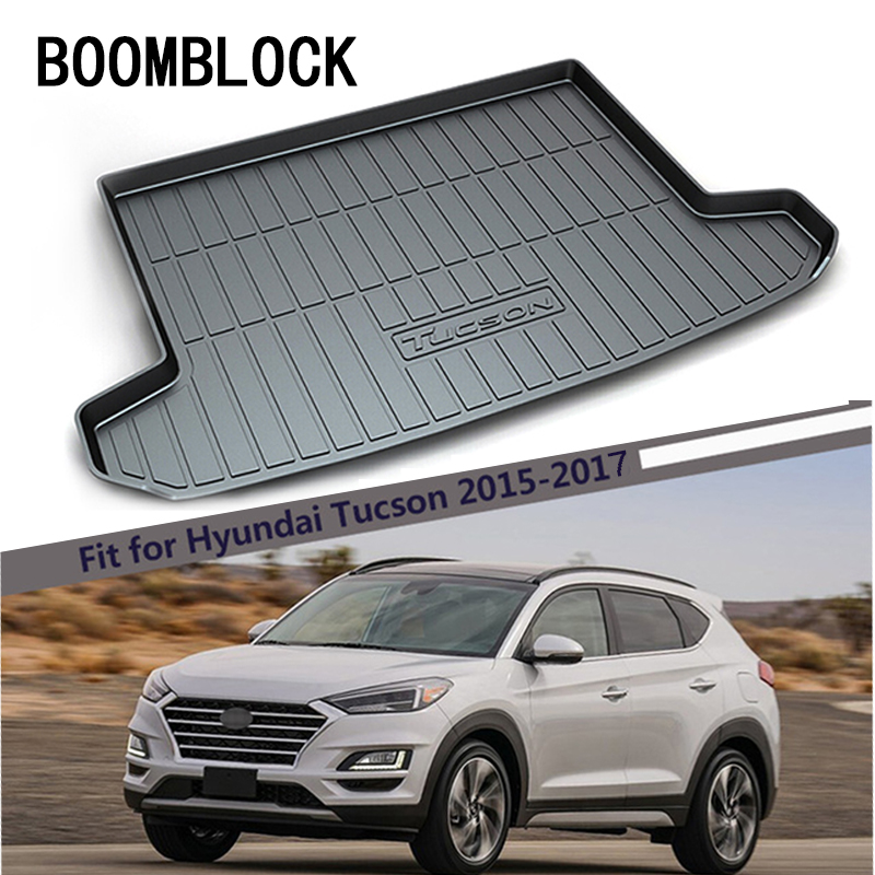 BOOMBLOCK For Hyundai Tucson 2015 2016 2017 Waterproof Anti-slip Car Trunk Mat Tray Floor Carpet Pad Protector Auto Accessories boomblock for infiniti q50 q50l waterproof anti slip car trunk mat tray floor carpet pad protector auto accessories