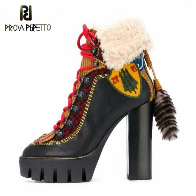 Prova perfetto 2018 New Women Ankle Boots Female Chunky High Heel Winter Warm Fur Boots Fringed Lace Up Women Platform PumpsProva perfetto 2018 New Women Ankle Boots Female Chunky High Heel Winter Warm Fur Boots Fringed Lace Up Women Platform Pumps