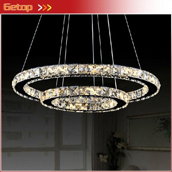 Modern Minimalist Restaurant Living Room Crystal Lamp Circular Led Chandelier Creative Round Light Decorative Lighting