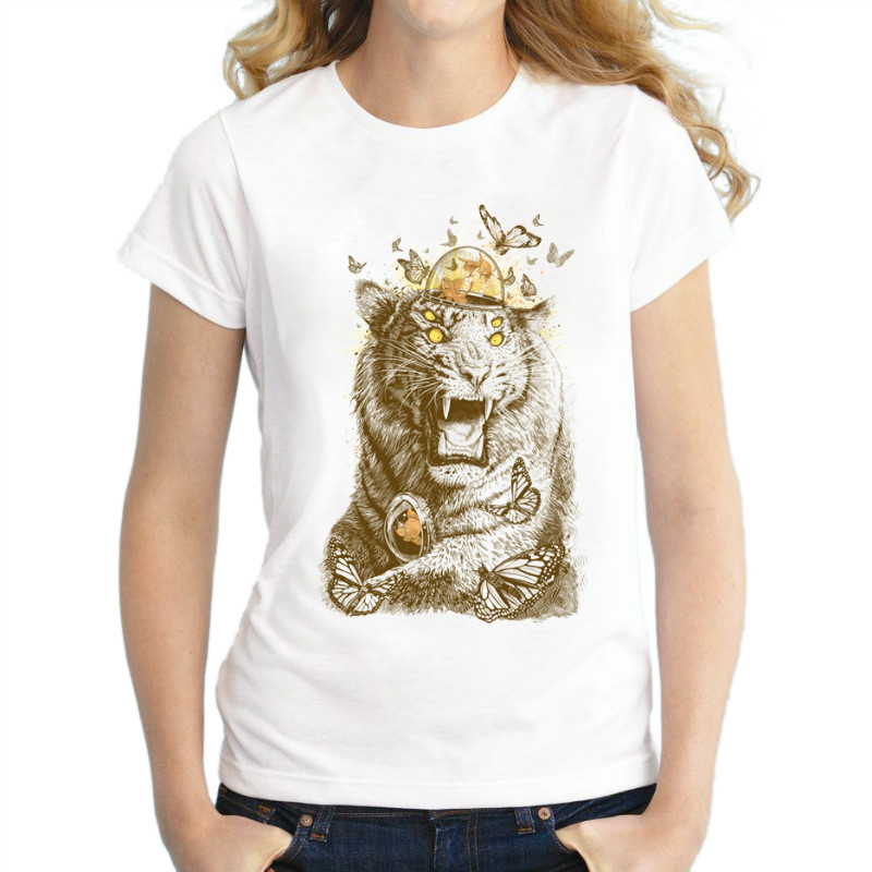 Brand Women t shirt 2018 New Summer Animal head prin short Sleeve T-shirt Womens Tiger head t shirt fashion