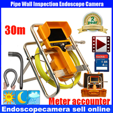 30M 9 Cable Video Endoscope Recording Inspection Borescope Camera  7′ TFT Display meter counter  23mm 90 degree DVR Camera