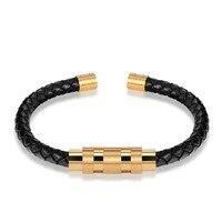 JANEYACY Stainless Steel Bangle Men Leather Cord Bracelet Bangle Black Color Leather Bracelet For Men Wristband