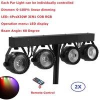 2 Упак. плоским Par наборы высокое мощность 4 шт. X 30 Вт RGB 3IN1 светодиодные огни этапе с осветительная Стойка Сумка упаковочный набор освещение д