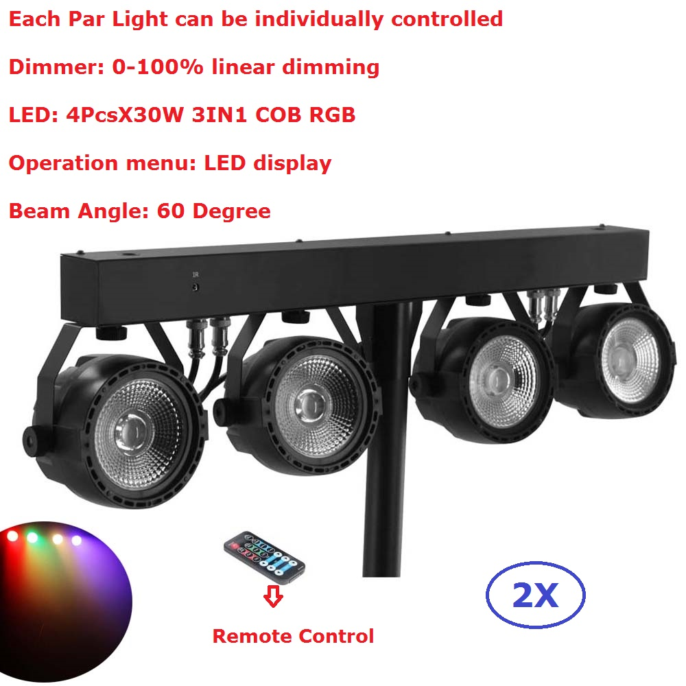 2Pack Flat Par Kits High Power 4PcsX30W RGB 3IN1 Led Stage Lights With Light Stand Bag Package Set DJ Disco Lighting Equipments