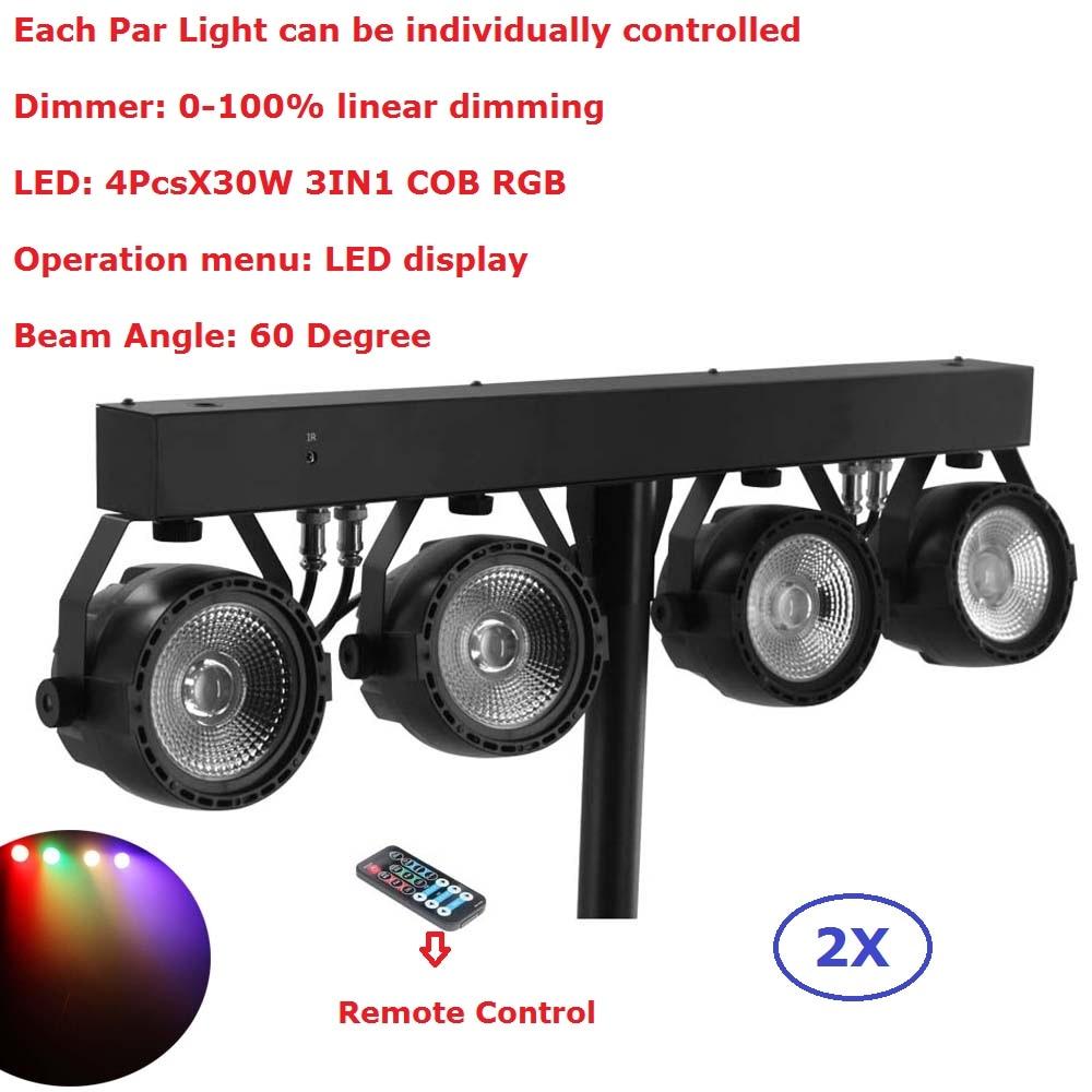 Paquet de 2 Kits plats Par puissance élevée 4 pièces X 30 W rvb 3IN1 a mené des lumières d'étape avec le paquet léger de sac de support a placé des équipements d'éclairage de Disco de DJ