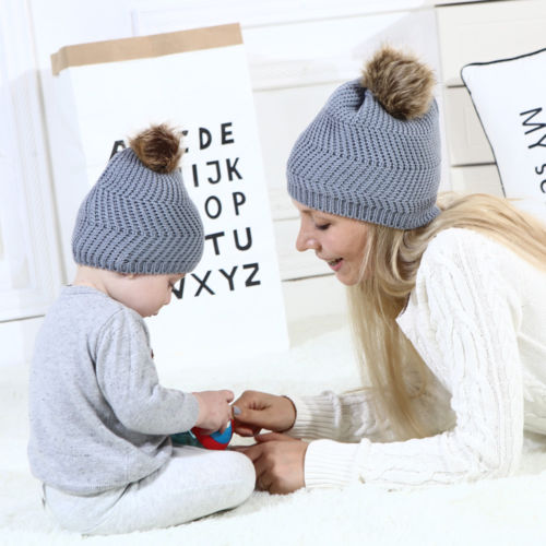 Heißer Winter Erwachsenen Mama Junge Mädchen Kid Baby Warme Häkeln Stricken Hut Beanie Cap Mon Kinder Baby Hut Feste Beiläufige Durch Frauen Und Baby 100% Original