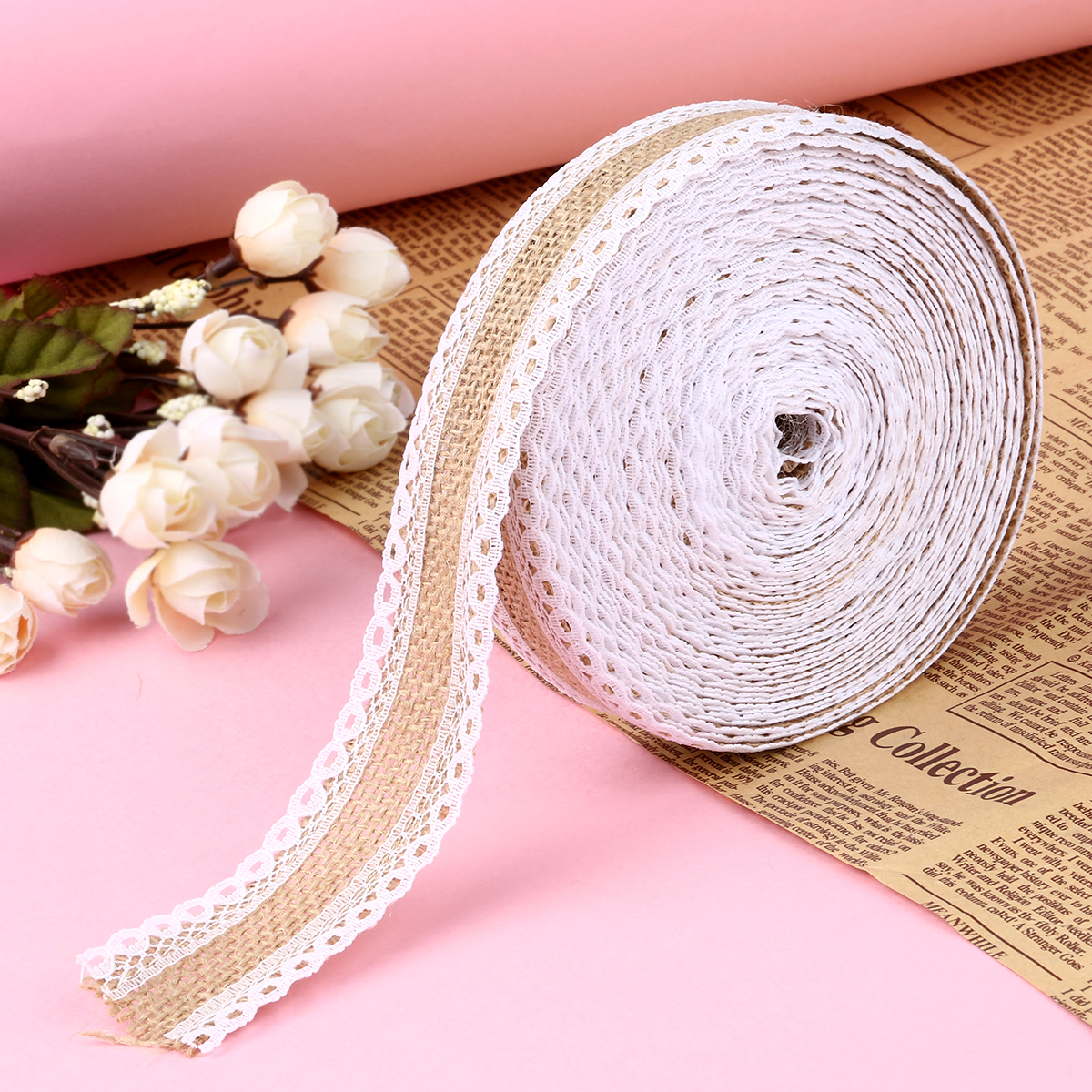10M Hessian Jute Lace Craft Ribbon Natural Burlap Ribbon jute roll ...
