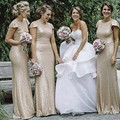 Gold Sequined Bridesmaid Dresses Long with Short Sleeves Mermaid Bridesmaid Dress Plus Size New 2017 Wedding Party Gowns