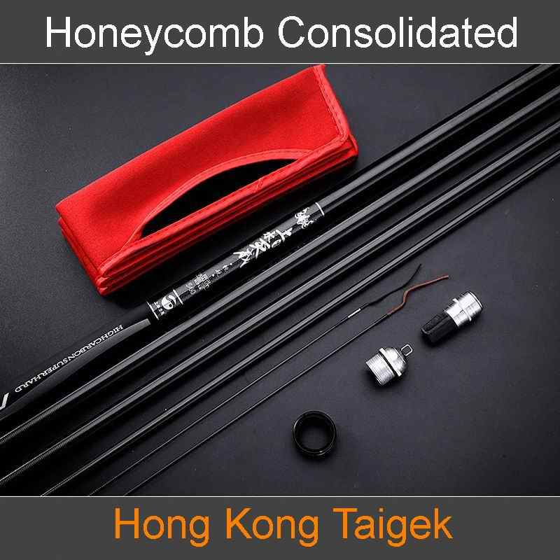 TAIGEK Honeycomb Consolidated Superlight Superhard Telescopic Fishing Rod High Carbon Fiber Quality Top Level