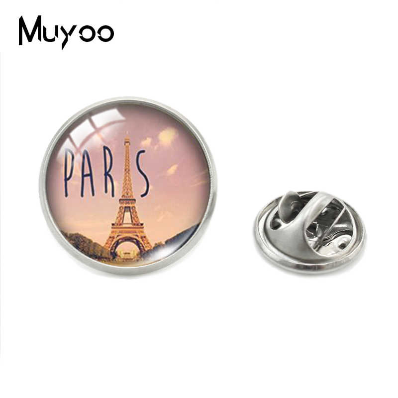 Prancis Paris Eiffel Tower Stainless Steel Perhiasan Kerah Pin Je T'aime Paris Eiffel Tower Kaca Cabochon Kerah Pin Hadiah