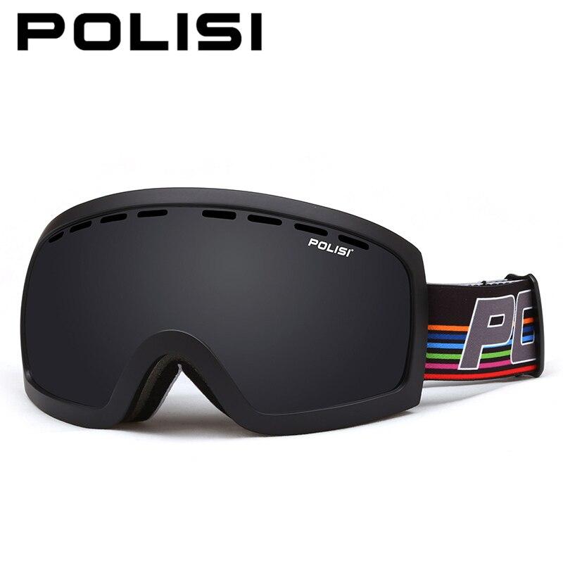 POLISI Winter Ski Snowboard Glasses Windproof Snowmobile Goggles Outdoor UV Protection Double Layer Anti-Fog Gray Lens Eyewear цена