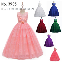 Free Shipping Ankle Length Kids Party Dress 2019 New Arrival Peach Flower Girl Dresses For Weddings Children Princess Ball Gowns