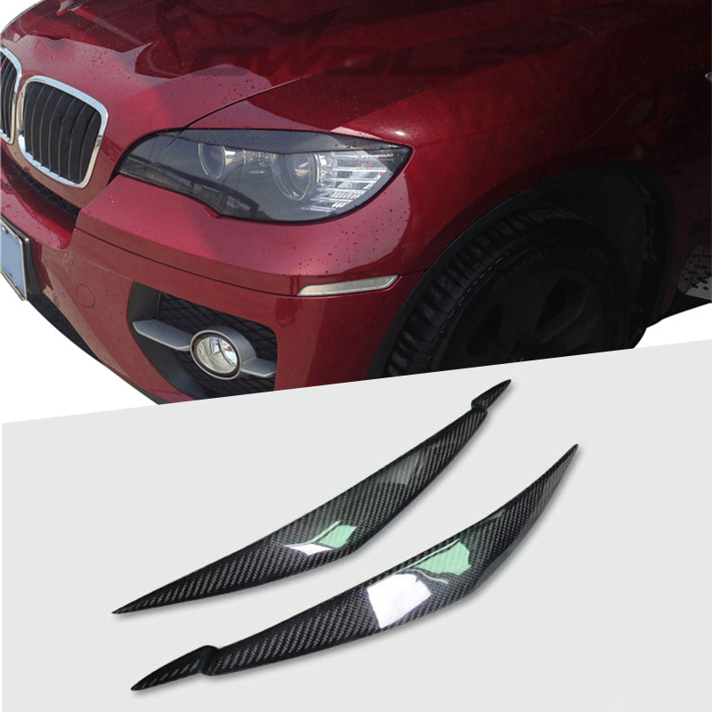 100percent Rear Carbon Fiber Headlights Eyebrows Eyelids for BMW E71 X6 X6M Car Styling Front Headlamp Eyebrows Trim Cover Accessories