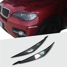 100% задние фары из углеродного волокна, веки для бровей для BMW E71 X6 X6M, автомобильный Стайлинг, передний налобный фонарь, Накладка для бровей, а...