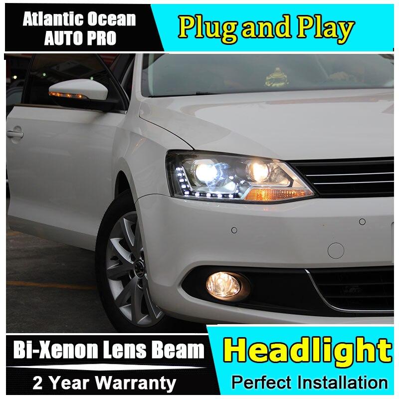 2013,2014, 2015 2016 vw jetta MK6 phares LED style de voiture 15 LED DRL bi-xénon Double lentille parking xénon H7 VW jetta phares
