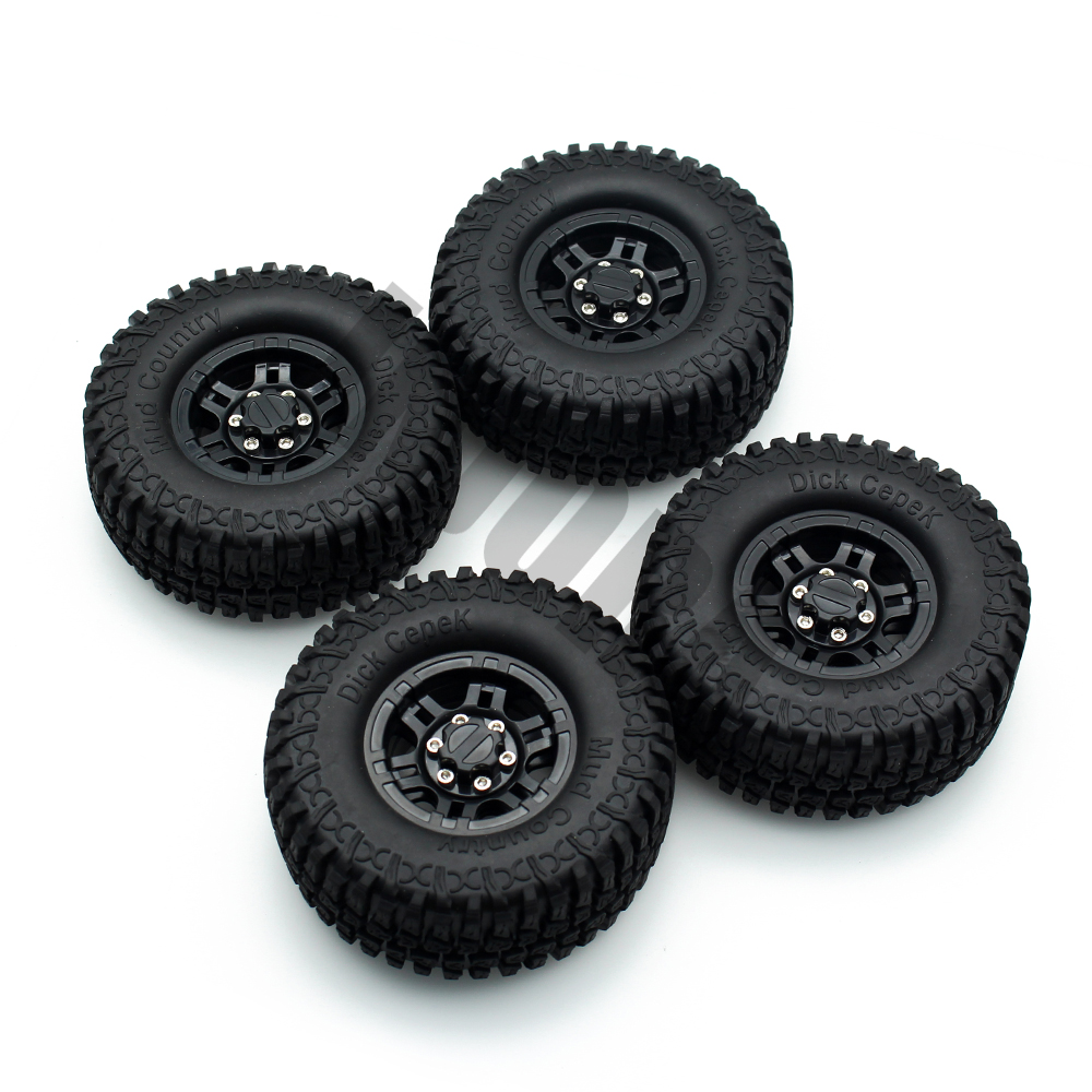 1:10 RC Rock Crawler 1.9 Inch Rubber Mud Tires & Plastic Beadlock Wheel Rim Set for Axial SCX10 Tamiya CC01 RC4WD  D90 D110 TF2 4pcs rc crawler truck 1 9 inch rubber tires