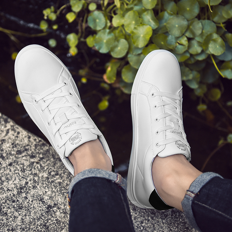 SUROM White Sneakers Man Casual Shoes Leather Lace Up Erkek Ayakkabi Soft Comfortable Shoes Male Breathable