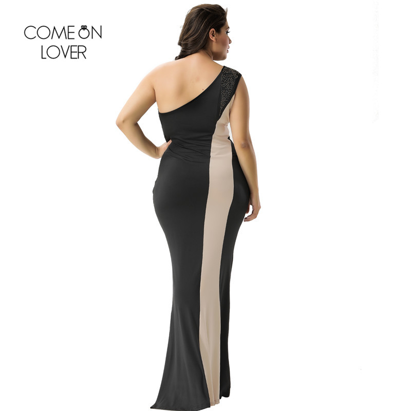 cbb92943fb748 US $18.99 49% OFF|Comeonlover Long Polyester Dresses Black And Nude One  Shoulder Party Dress Maix RI80164 3XL Party Night Long Striped Dress-in ...