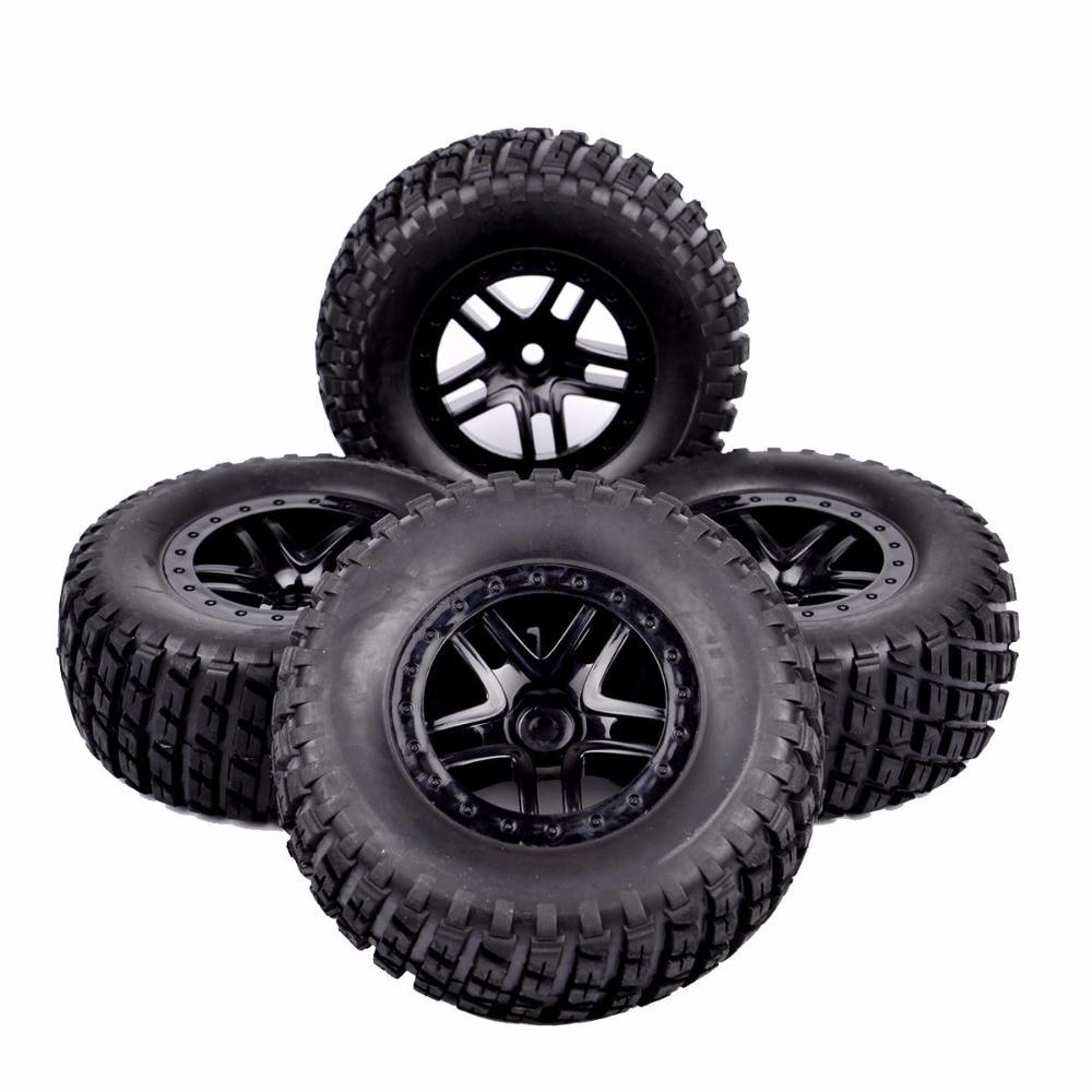 4pcs Tire Set Wheel Hub 12mm For TRAXXAS SLASH HPI HSP RC 1:10 Short Course Truck Off Road Tyre 2pcs traxxas original 1 5 x maxx tires wheels tire tyre for 1 5 traxxas x maxx rc monster truck model 7772