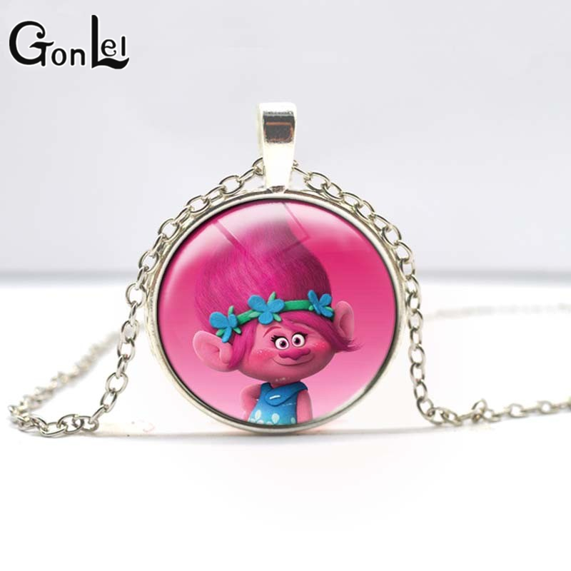 GonLeI 60CM Silver/Bronze Color Trolls Chain Necklace with 2.8CM Glass Pendant Girls Best Gift Anime Kids Action Figures Toys old antique bronze doctor who theme quartz pendant pocket watch with chain necklace free shipping