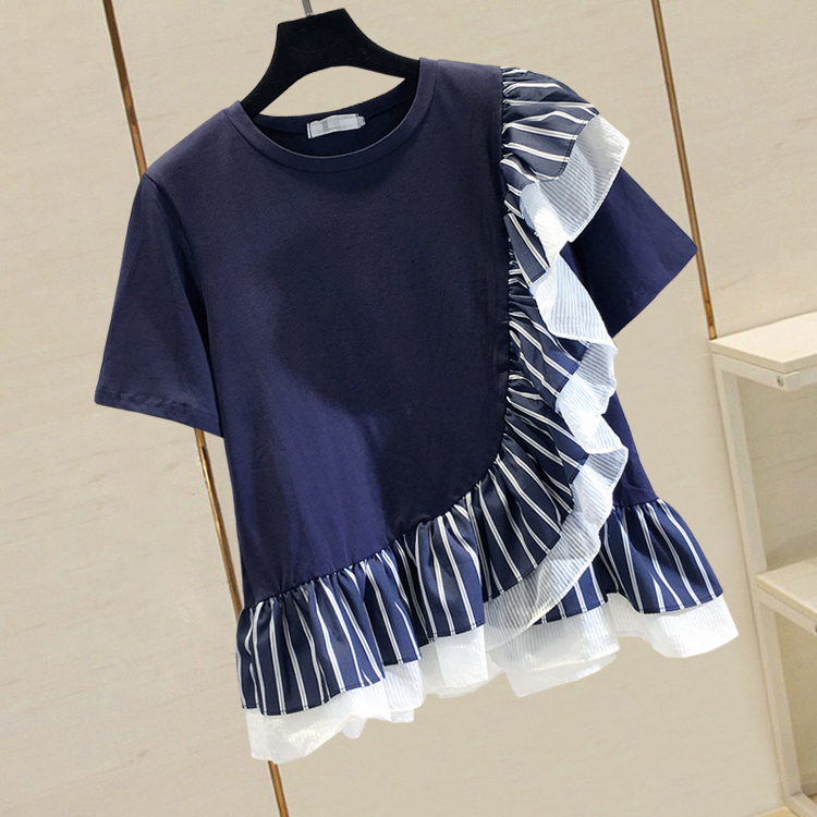 Summer Pull Shirt Woman New Chiffon Stripe Stitching Loose Short Sleeve Blouse With Lotus Leaf Edge Girls Ladies Loose Tops