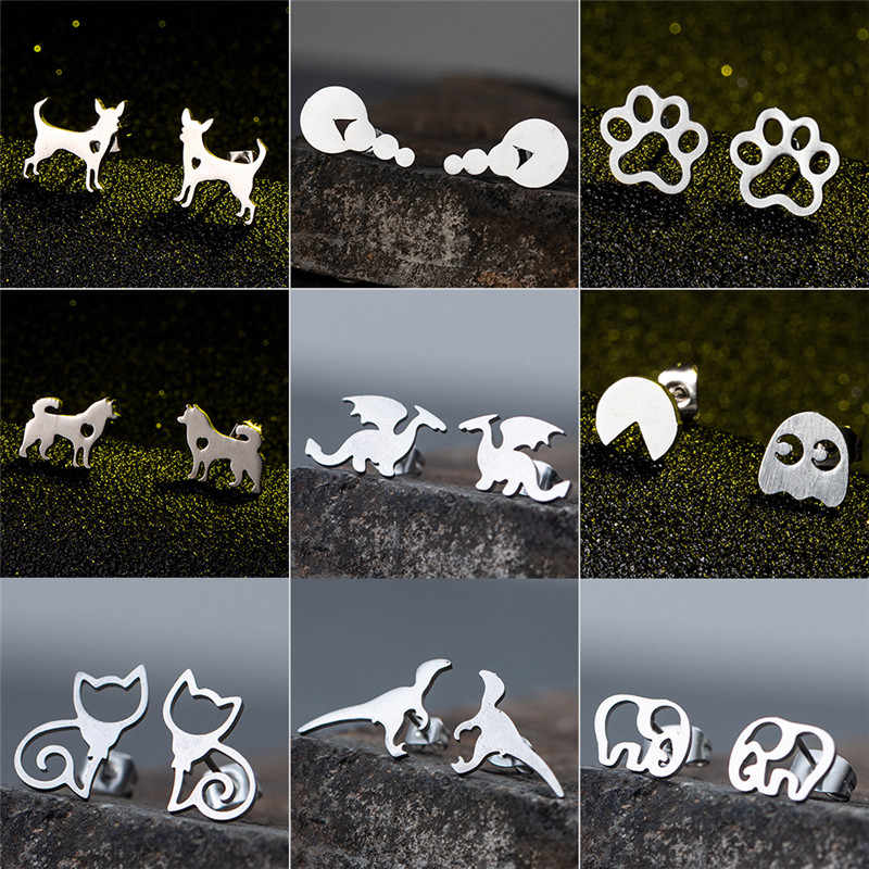 Fashion Silver and Golden Stud Earrings for Women Girls Christmas Jewelry 2019 Cat Paw Deer Bear Fish Dog Bird Animal Earring