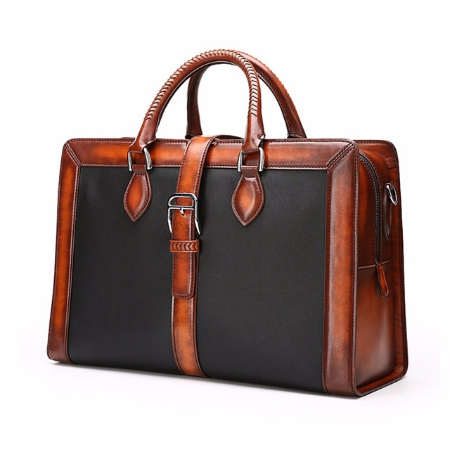 TERSE 2017 New Arrival Hot Selling Men Briefcase Handmade Full Grain Leather  Bag Antique Tote Bag Luxury cb938e6244084