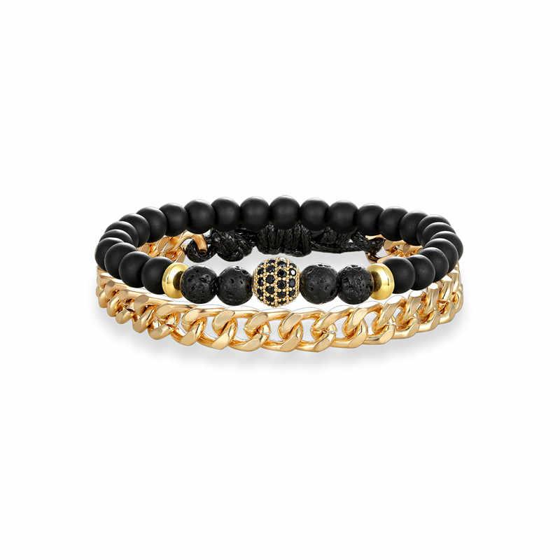 Men's 1 Set 2PCS Natural Stone CZ Ball Beaded Charm Bracelet Men Stainless Steel Link Chain Women Bracelets Dropshipping male