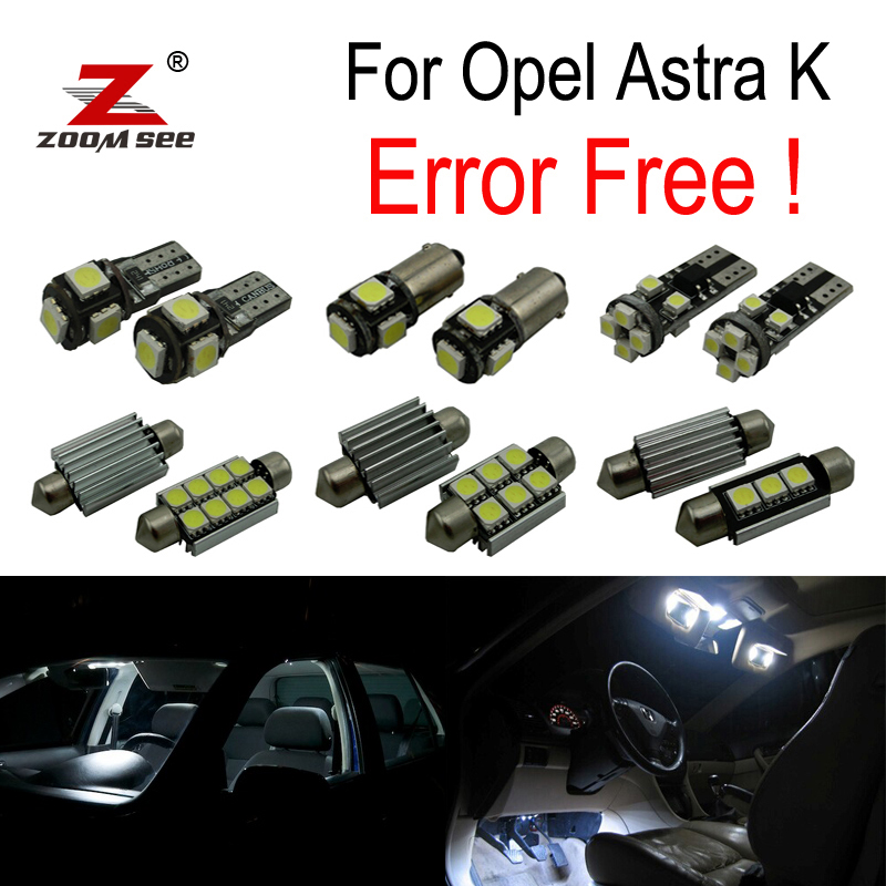 15pcs Error free for Opel Astra K  OPC GTC  Sports Tourer LED bulb Interior Light Kit   Reverse Lamp (2015+) 9pcs error free for opel astra j opc gtc sports tourer hatchback led bulb interior light kit 2009 2015