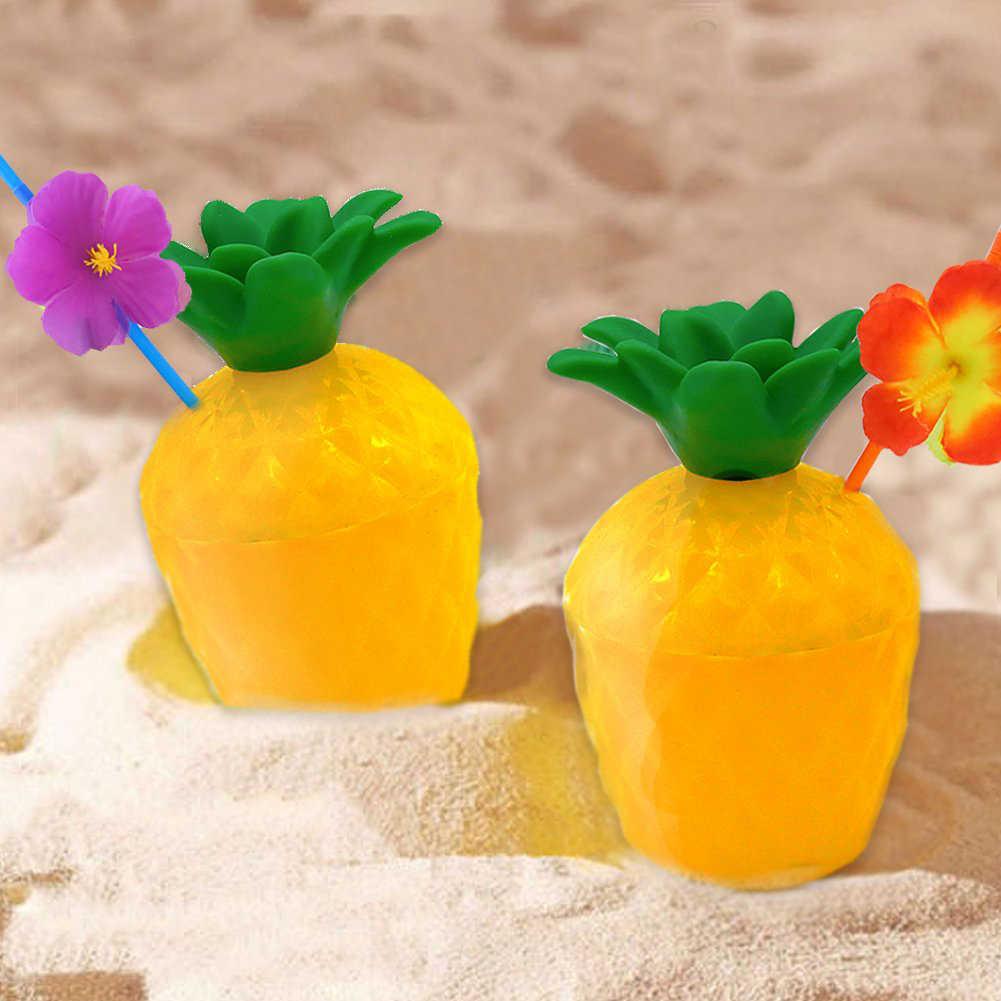 1 Buah Plastik Pantai Hawaii Pesta Kelapa Nanas Minuman Cangkir & Jerami Dekorasi Minum Jerami untuk Dekorasi Pesta