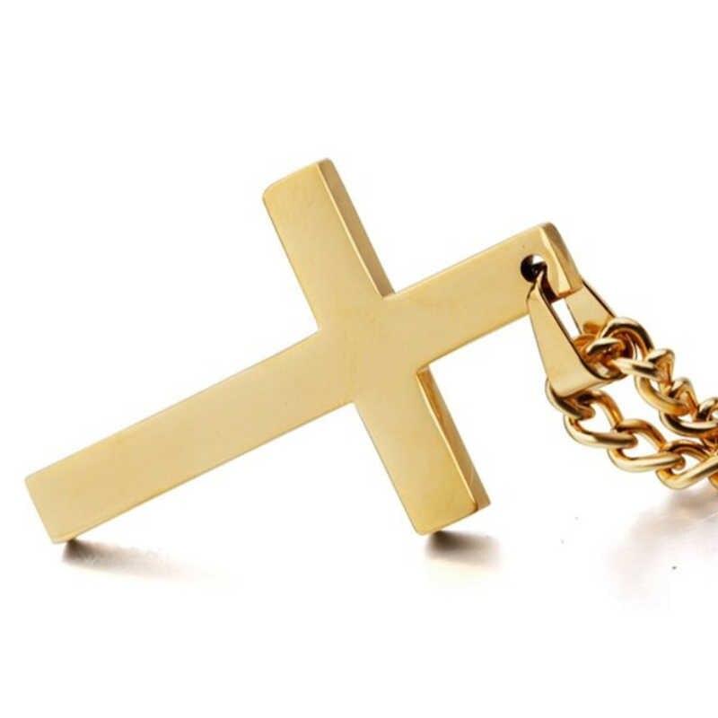 Wisiorek z ukrzyżowanym jezusem naszyjnik dla mężczyzn 50cm długi Link łańcuchy Christian krucyfiks srebrny złoty kolor czarny mężczyzna szczęście biżuteria modlitewna