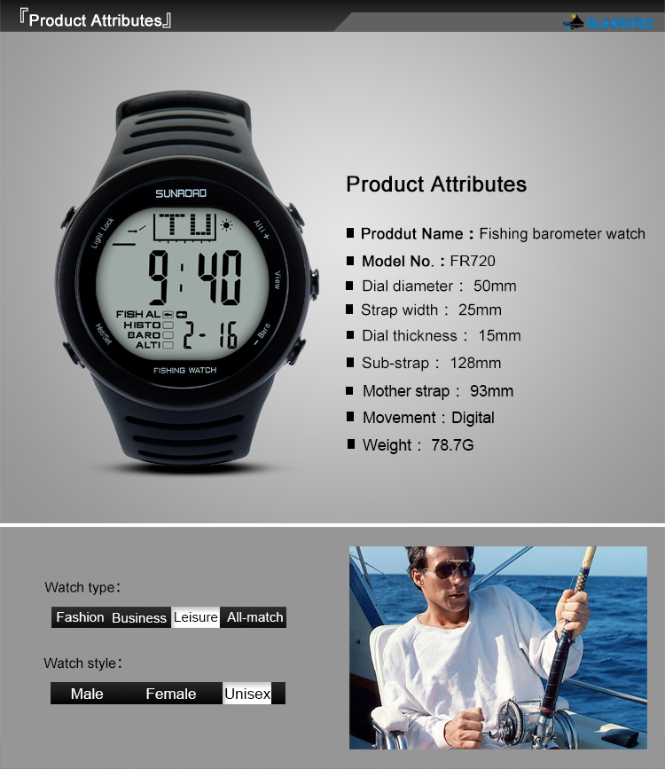 SUNROAD 2019 New Arrival Men s Digital Fishing Sports Watch with Barometer  Altimeter Stopwatch Hiking Swmming Wristwatches
