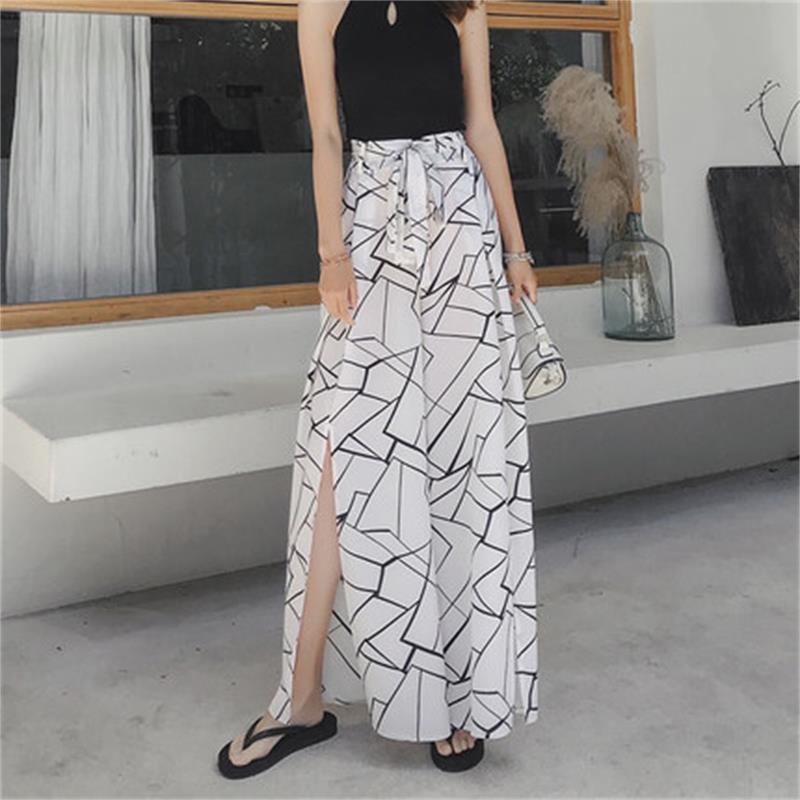 New fashion chiffon split   wide     leg     pants   female summer nine was thin drape students white big feet trousers gentle wind