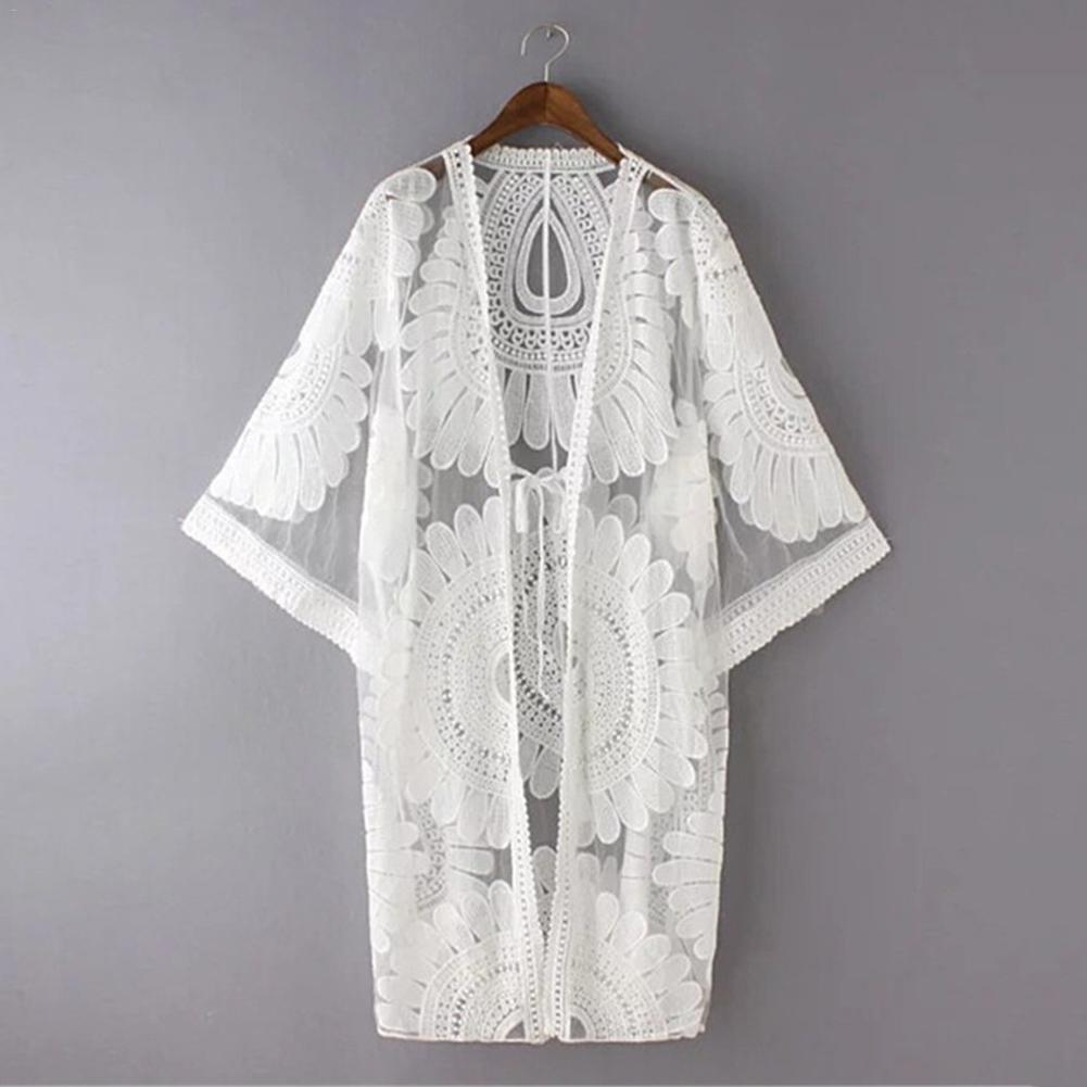 Pareo Beach Cover Up Embroidery 2018 New Bikini Cover Up Robe De Plage Summer Beach Wear Cardigan Dress Women Swimsuit Cover Ups