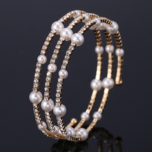 HOCOLE Trendy Charm Crystal Rhinestone Pearl Bangles Bracelets For Women Multilayer Gold/Silver Metal Bracelet Wedding Jewelry