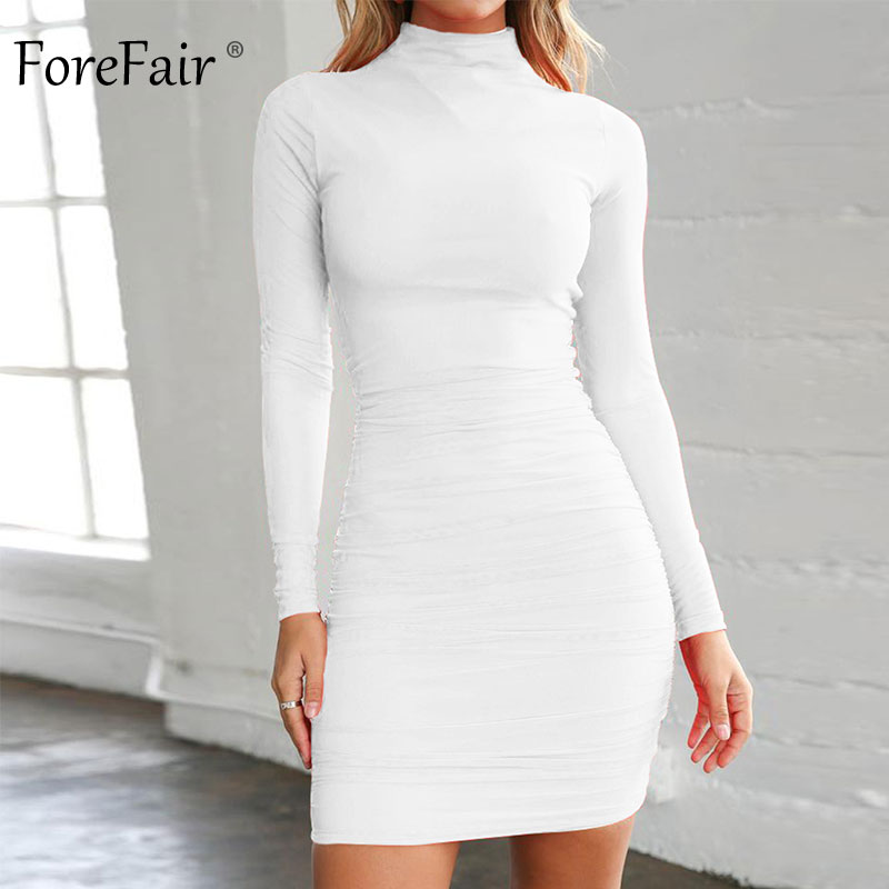 Forefair Winter <font><b>Sexy</b></font> Bodycon <font><b>Dress</b></font> Turtleneck Solid Ruched Basic <font><b>Red</b></font> Black High Neck <font><b>Short</b></font> Autumn Long Sleeve <font><b>Dress</b></font> Women image