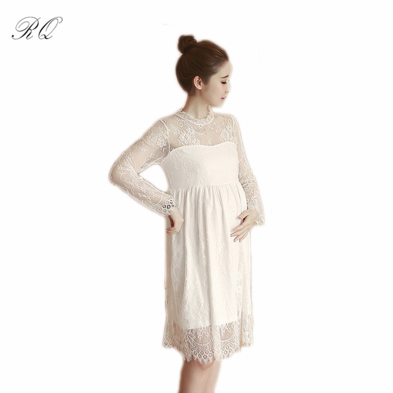 RQ New fashion lace Maternity dress spring new pregnant women dress pregnant mother pregnant dress large size Q124