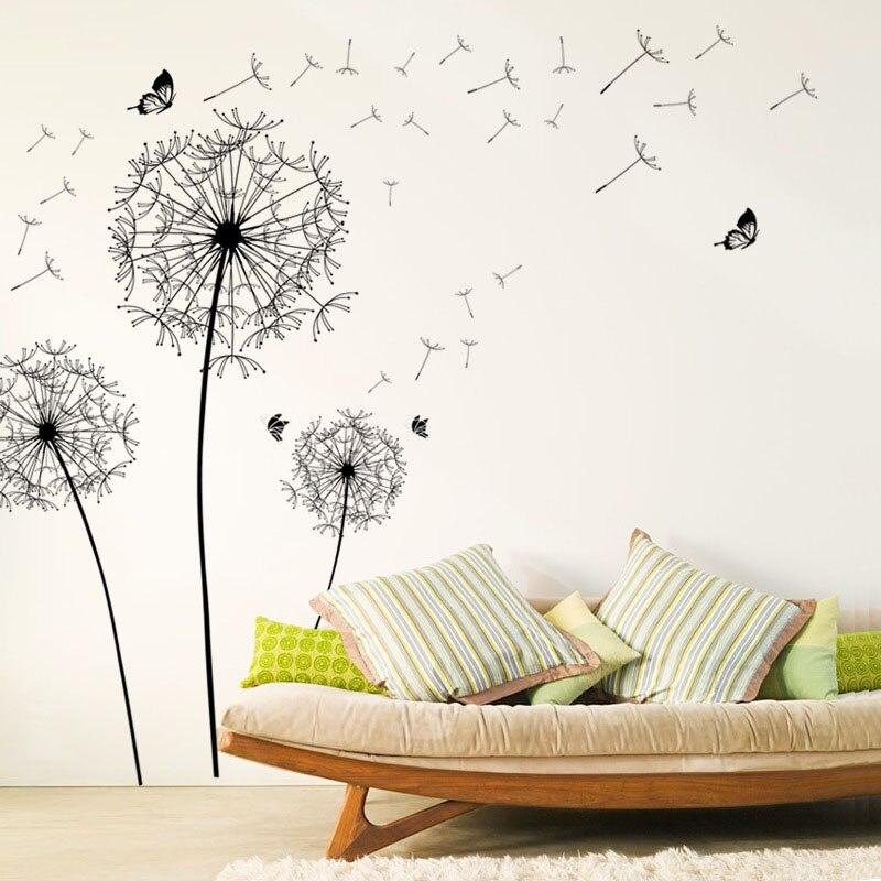 [Zooyoo] grande preto dandelion flor adesivos de parede decoração para casa sala estar quarto mobiliário arte decalques borboleta murais