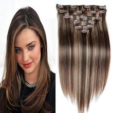 Remy Human Hair Clip In Extensions 120g Brazilian Virgin Hair Clip Ins Full Head 220g 8pcs 4/27# Clip in Human Hair Extensions