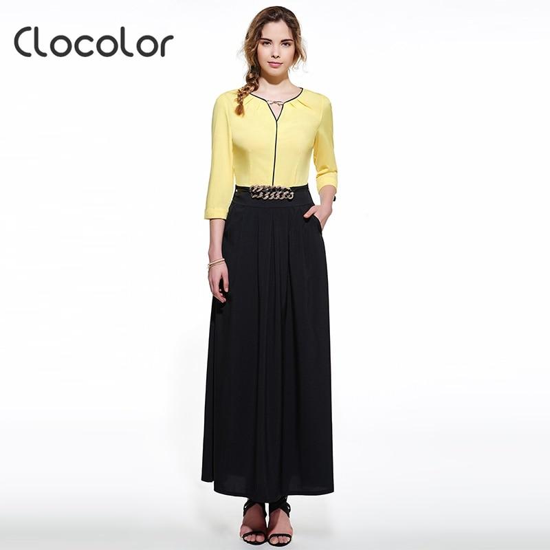 Clocolor 2016 summer maxi dress  black party o-neck floor-length women polyester  polyester long  black dress  maxi dress