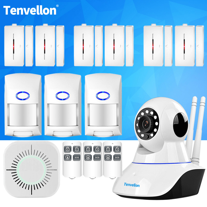 Alarm Systems Security Home WIFI IP Camera Wireless Alarm System With Sensor Alarm remote Smoke Detector DIY Kit APP Control