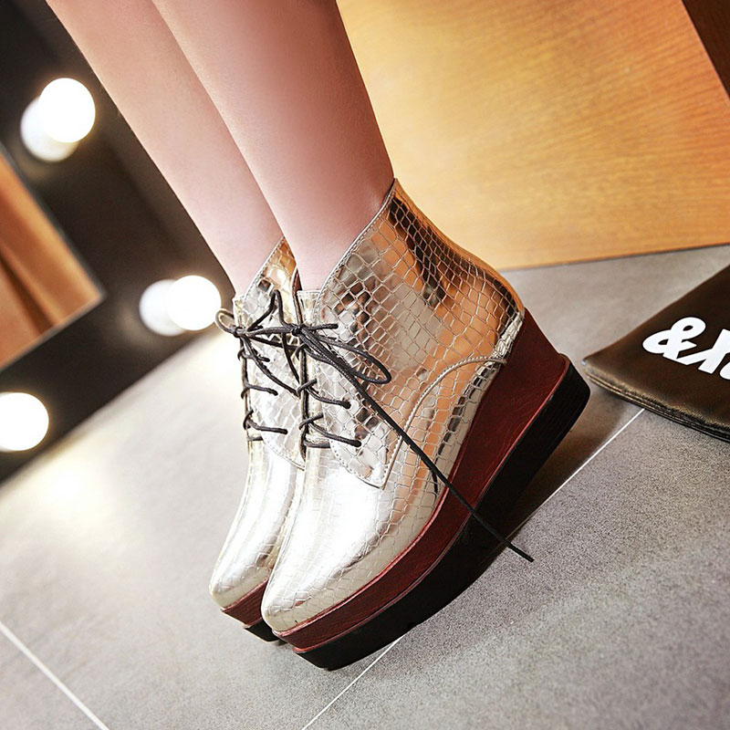 ФОТО BF daily punk girl style shoes woman vogue Retro popular casual lace-up platform ankle boots wedges heel woman boots ss547