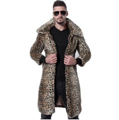 New Style Men Fall and Winter Fox Fur Overcoat Long Sleeve Clothing Warm Handsome Tops Male Open Stitch Wool Outerwear