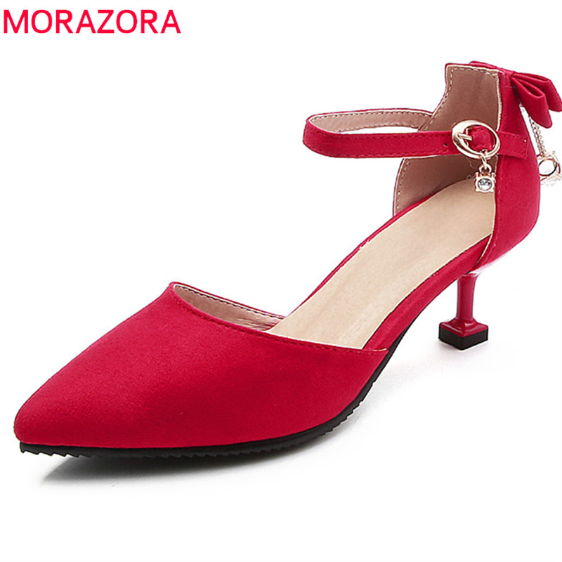 MORAZORA 2018 new arrive women pumps spring summer classic flock pointed toe fashion buckle thin heels party wedding shoes morazora new arrive woman pumps spring summer sweet bowknot fashion splice color sexy thin heels pointed toe buckle shoes woman