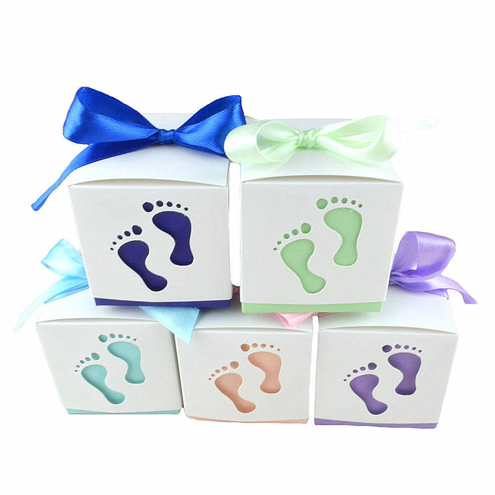 50pcs Lot Baby Footprint Laser Cut Candy Box Baby Shower