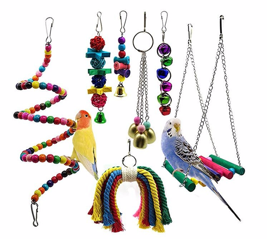 7PCS Combination Parrot Toy Bird Articles Parrot Bite Toy Bird Toys