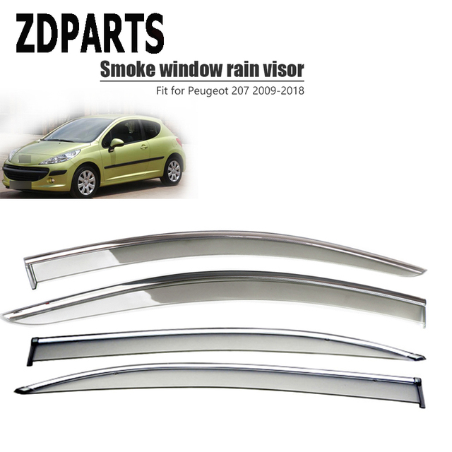 ZDPARTS 4Pieces/Set Car Wind Deflector Sun Guard Rain Wind Vent Visor Cover Trim Accessories For Peugeot 207 206 Citroen C2 ABS