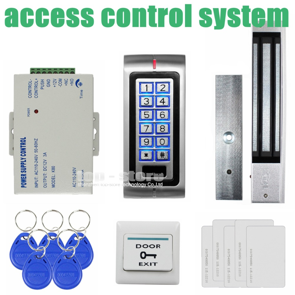 DIYSECUR 280kg Magnetic Lock 125KHz RFID Password Keypad Access Control System Security Kit + Exit Button K2 diysecur touch button rfid 125khz metal keypad door access control security system kit magnetic lock for home office use