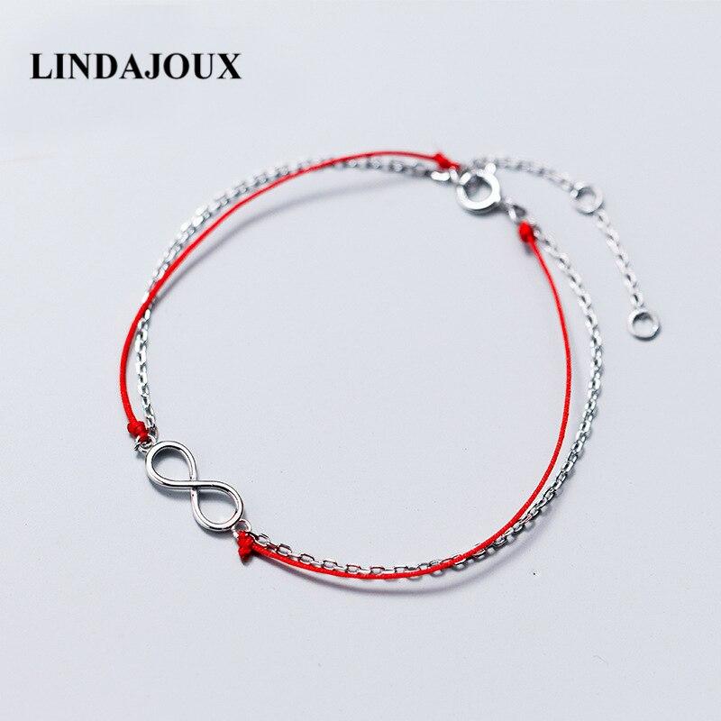 eb5f608f49cd Plata de Ley 925 infinito con pulseras de dijes de hilo rojo para mujer  plata 925 joyería regalo de cumpleaños para niña