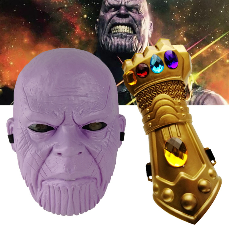 The Avengers Alliance Anime Peripheral Infinity War Thanos Figure Keychain Thanos Mask Glove Plastic Model Toy